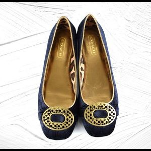 Coach Ballerina Flats with Brass Buckle Velvet